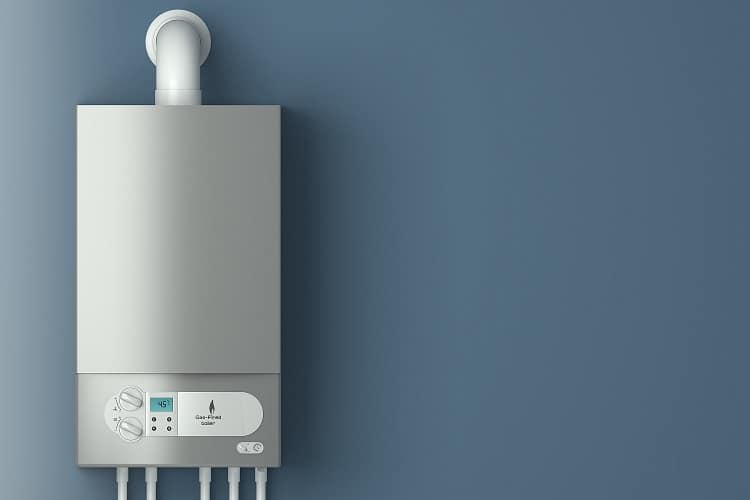 Home gas-fired boiler. The installation of gas equipment. Heating in the house.