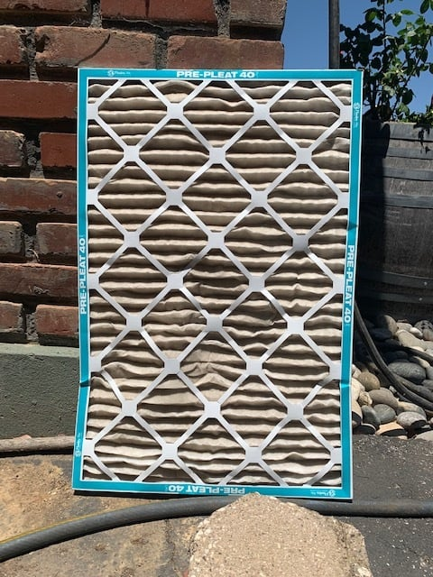 Dirty air filter that's ready to be replaced